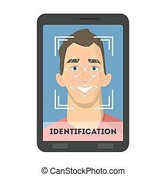 Facial recognition illustration.
