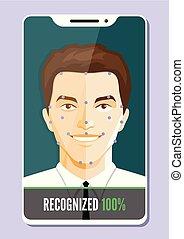 Facial recognition system concept. Biometric verification. Vector illustration