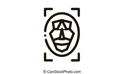 facial recognition technology Icon Animation. black facial recognition technology animated icon on white background