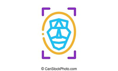 facial recognition technology Icon Animation. color facial recognition technology animated icon on white background