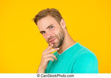 facial, sexy, cerda, care., barba, como, hombre, tacto,...