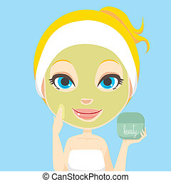 Facial Skin Care - Blonde woman applying facial beauty skin...