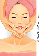 Facial SPA - cartoon illustration of facial spa
