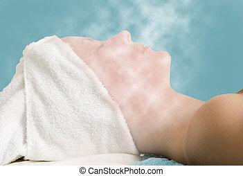 Facial Steam Treatment - Relaxing during a facial steam...