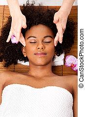 facial, templo, massagem, em, spa beleza