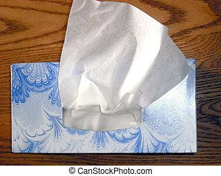 Box of soft facial tissue.