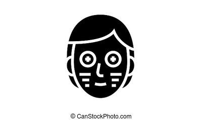 facial vitamin mask animated glyph icon. facial vitamin mask sign. isolated on white background