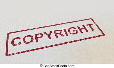 facile, droit d'auteur, timbre, paper., caoutchouc, mat,...