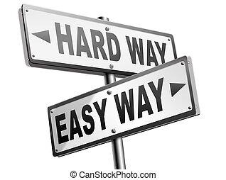 facile, duro, o, modo