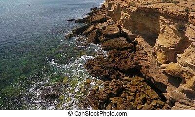 facilement, mer, vagues, pacifique, aérien, rouleau, vidéo, atlantique, nostalgique, mouvement, rocheux, rivages, ocean., lent