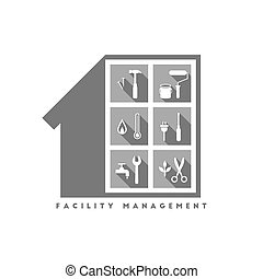 facilidade, gerência, logotipo, conceito