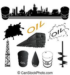 facilità, industria, set, olio
