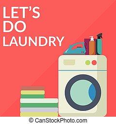 facilità, lavaggio, stanza, bucato