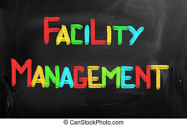 faciliteit, management, concept