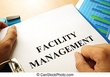 faciliteit, management, concept.
