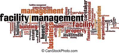 faciliteit, management, woord, wolk