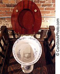 Antique toilet in Seattle's Underground (old city below the modern city)
