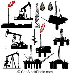 The contours of the oil industry facilities. Illustration on the production and sale of natural resources. Illustration on white background.