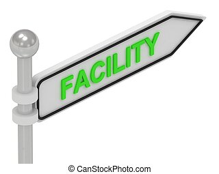 FACILITY arrow sign with letters on isolated white...