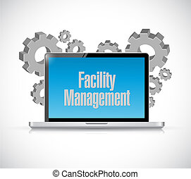facility management laptop computer sign