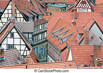 Facing at red roofs of  Quedlinburg