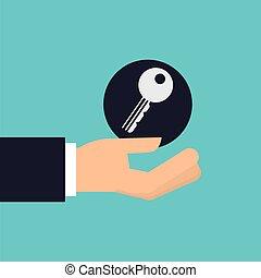 facit lås, isolerat, lämna beskydd, design, holdingen, ikon