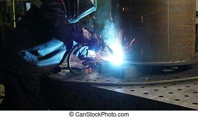 fackel, beitreten, gebrauchend, metall, sicherheitsmaske, ...
