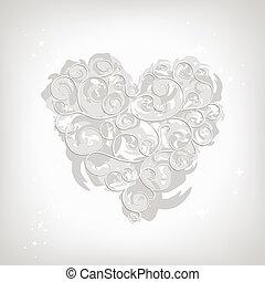facon, hjerte, din, blomstret konstruktion, ornamentere
