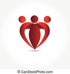 facon, hjerte, logo, image, familie, vektor