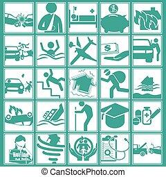 facon, ikon, på, forsikring