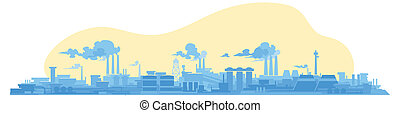 facory. industrial plant. - flat panoramic illustration of...