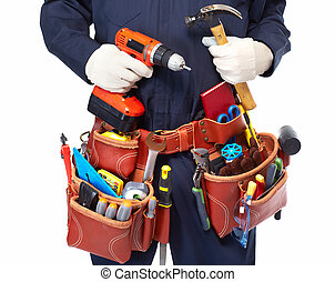 factótum, con, un, herramienta, belt.