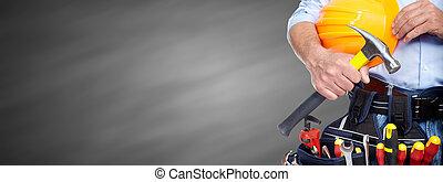 factótum, construcción, tools., constructor
