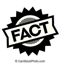 fact black stamp on white background. Sign, label, sticker