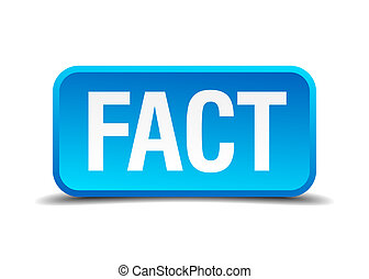 fact blue 3d realistic square isolated button