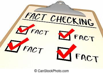 Fact Checking Checklist Clipboard Words 3d Illustration