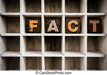 Fact Concept Wooden Letterpress Type in Draw