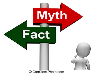 Fact Myth Signpost Shows Facts Or Mythology - Fact Myth...