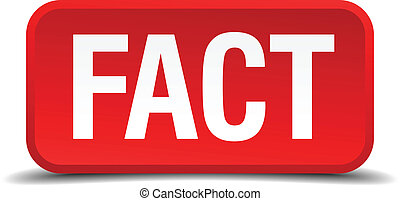 Fact red 3d square button isolated on white background