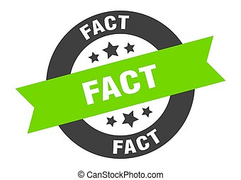 fact sign. fact black-green round ribbon sticker