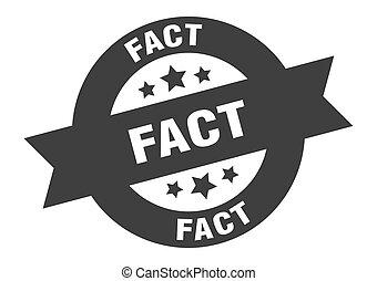 fact sign. fact black round ribbon sticker
