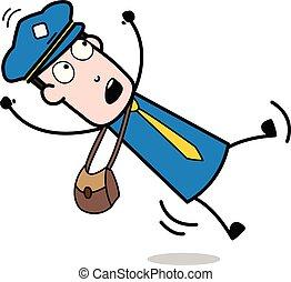 facteur, courrier, -, illustration, bas, vecteur, tomber gars, dessin animé