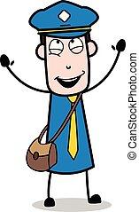 facteur, courrier, -, illustration, vecteur, plaisir, type, dessin animé