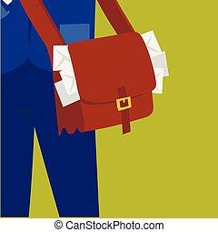 facteur, courrier, paquet, caractère, envelope., livrer,...