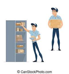 facteur, postier, courrier, livreur, ou, icône