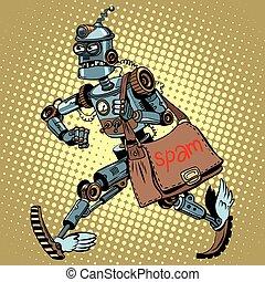 facteur, robot, spam, électronique, email