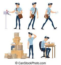 facteur, service, courrier livrant, postal, icône