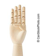 factice, bois, haut, main, quatre, doigts