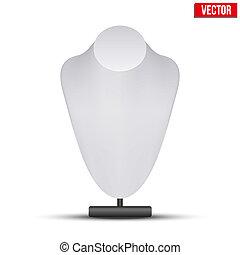 factice, illustration., réaliste, vecteur, bust., collier, blanc
