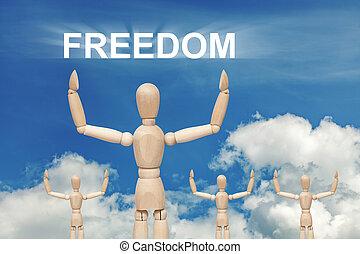 factice, mot, bois, liberté, ciel, marionnette, fond